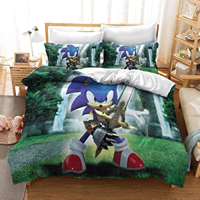 Y&C 3D Printed Sonic The Hedgehog Cartoon Duvet Cover Set 3 Piece Kids Bedding Full Size Set 1 Duvet Cover and 2 Pillowcases: Home & Kitchen