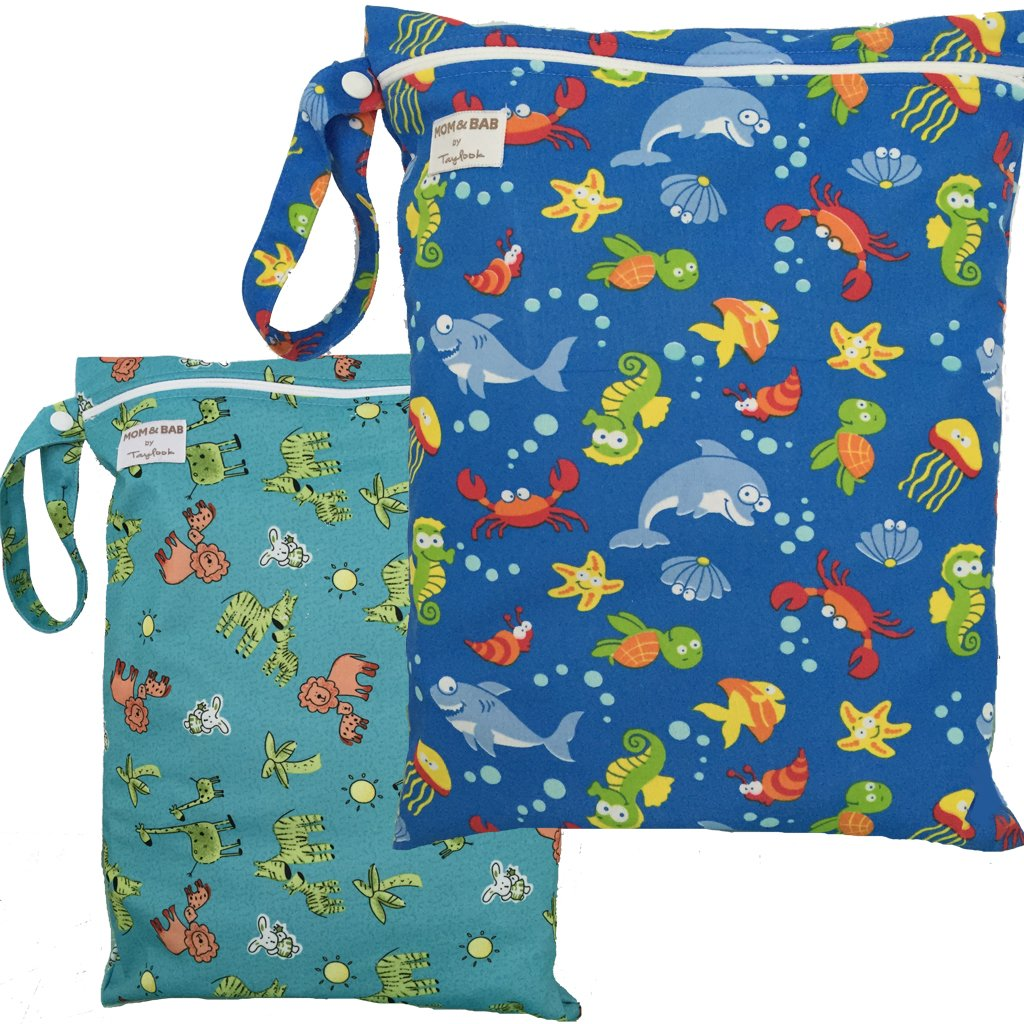 2 Waterproof Zipper Wet/Dry Bags, Snap Handle(Sea/Jungle Animals)