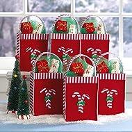 Candy Cane Felt Treat Bags - Set of 6