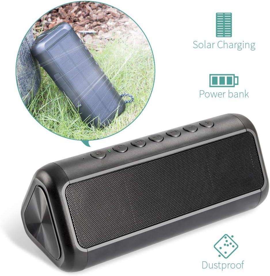 XIYIHOO Solar Bluetooth-Lautsprecher mit 5000mAh Power Bank, XIYIHOO Tragbarer, kabelloser Bluetooth 4.2-Lautsprecher mit Mehr als 50 Stunden Spielzeit für Outdoor- und Indoor-Aktivitäten …