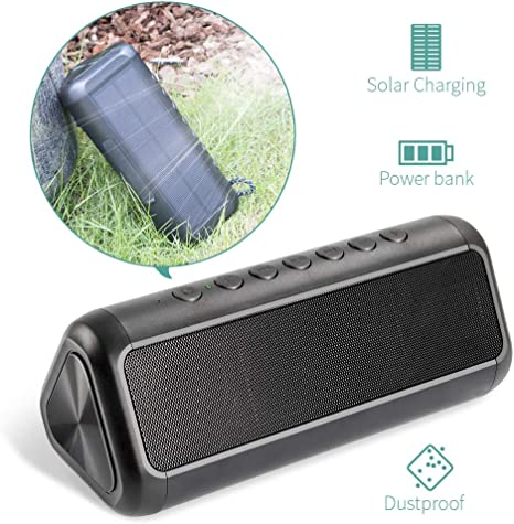 Solar Bluetooth Speaker Portable Charger, XIYIHOO IPX5 Splash proof Bluetooth Speaker 4.2 with 12W Stereo Subwoofer Bass, Shockproof & Waterproof for