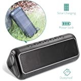 Solar Bluetooth Speaker with 5000mAh Power Bank, Elzle Portable Wireless Bluetooth 4.2 Speaker with 50+ Hours Playtime 12W Stereo Subwoofer Bass, IPX6 Waterproof for Outdoor and Indoor Activities