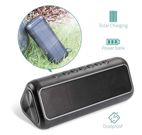 763ef546acfa49 Solar Bluetooth Speaker with 5000mAh Power Bank, Elzle Portable Outdoor Bluetooth  Speaker with 20+