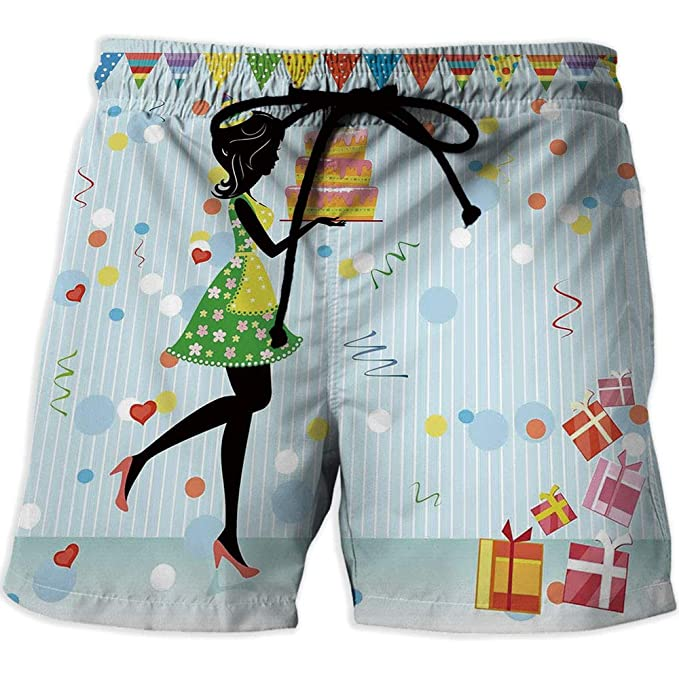 Mens Draw String Sports Athletic Shorts Birthday Decorations For