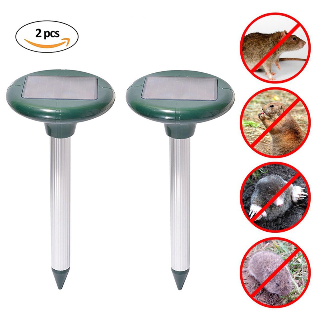 Wonninek Mole Repeller Ultrasonic Solar Snake Gopher Repeller Mice Rats Rodent for Lawn Garden Yards 2 Pcs