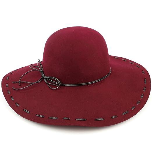 a810a1c2bf418 Hawkins Biege 100% Wool felt wide brim floppy hat with cord bow - (57cm)   Amazon.co.uk  Clothing