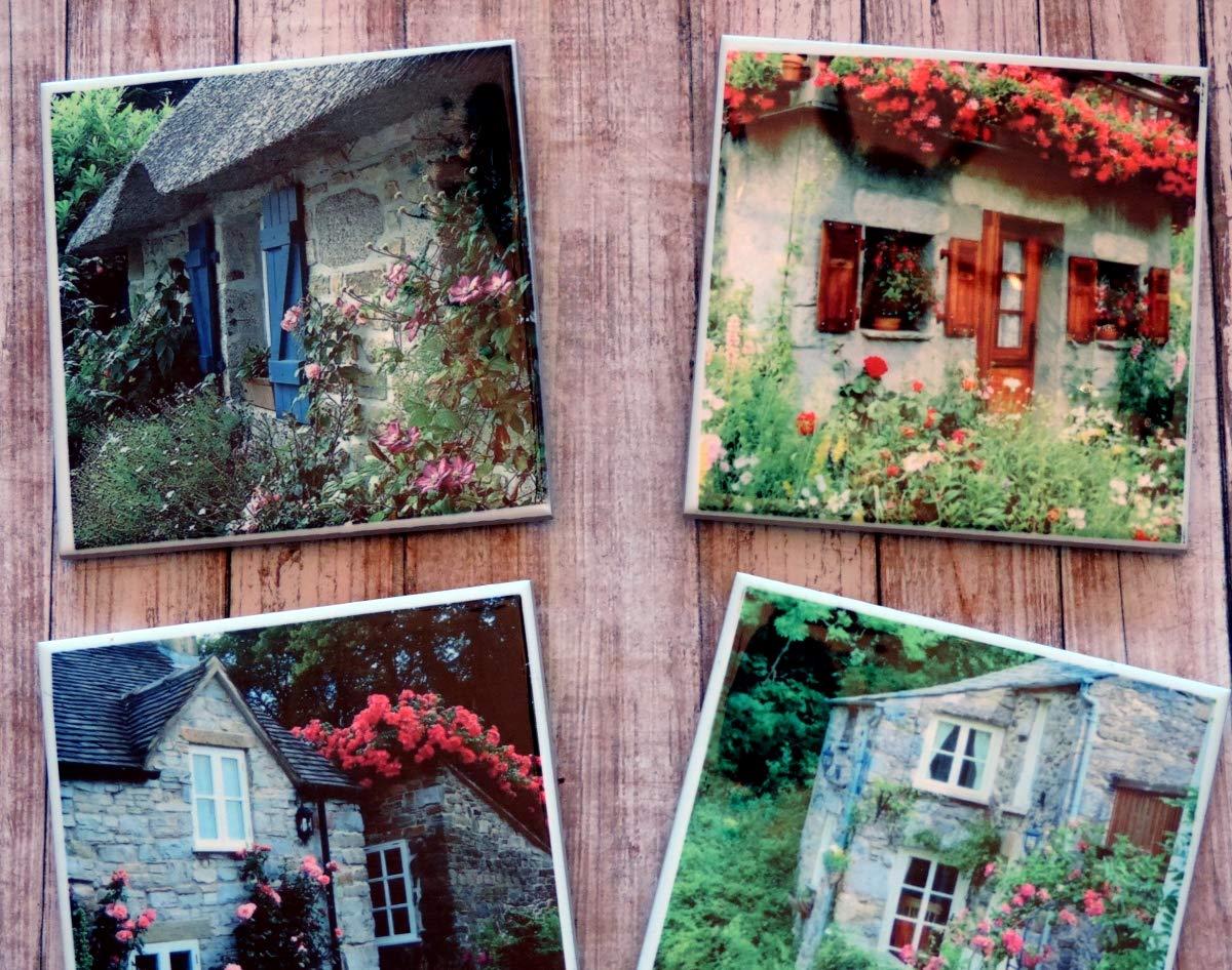 Amazon Com English Cottage Photo Coaster Set Cottages And