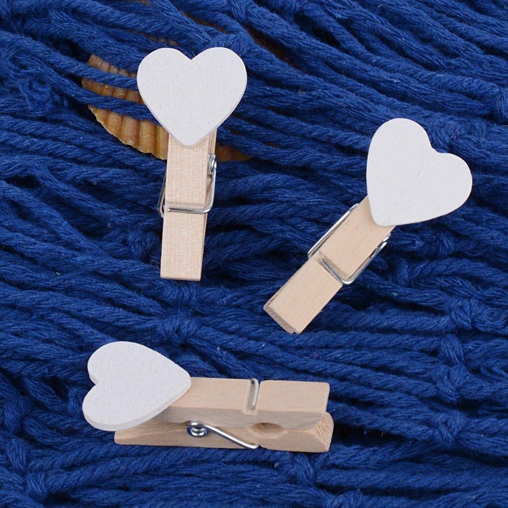 100pcs Mini Pinzas de Madera Peque/ñas con Coraz/ón Blanca 3.5cm Adorno de Fotos Ropa para Celebraci/ón Navidad Boda Papel Fotogr/áfico Clips de Artesan/ía