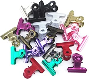 yueton 20pcs Mixed Color Metal Bulldog Clips, Utility Paper Clips, Hinge Clips for Home, Office Use