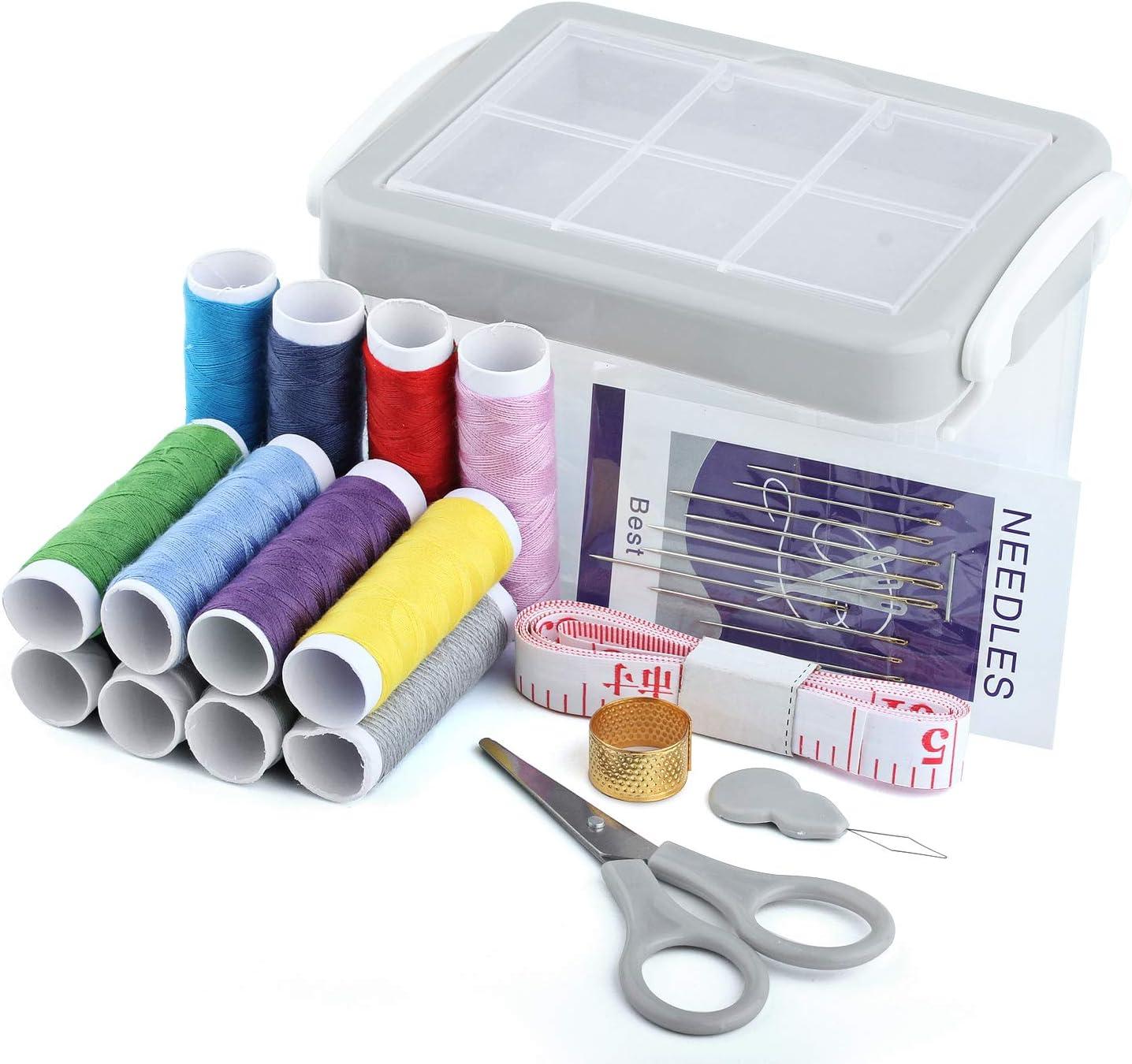 Kit de costura, caja de costura para niños, niñas, adultos, kit de costura de viaje pequeño con hilo de costura, tijeras de costura, agujas de coser a mano, dedal, cinta métrica, enhebrador