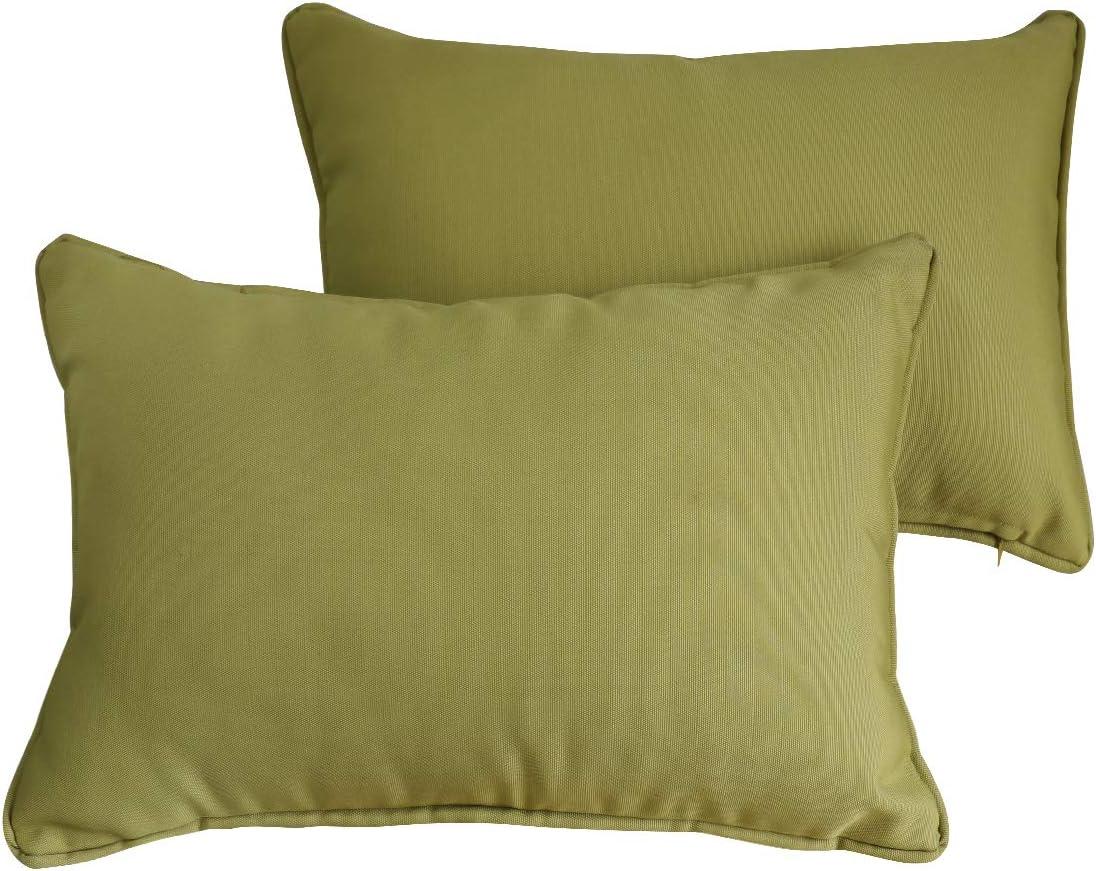 "Vanteriam 2 Pack Decorative Outdoor Solid Waterproof Lumbar Throw Pillow Cover with Piping, Accent Lumbar Pillow case with Zipper for Outdoor Patio Furniture Set, Rectangular 12"" x 20"" Dark Khaki"