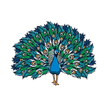 Buy 100yellow Peacock Theme Wall Sticker For Kids Room Decor Pvc Vinyl 90 Cm X 60 Cm Blue Online At Low Prices In India Amazon In