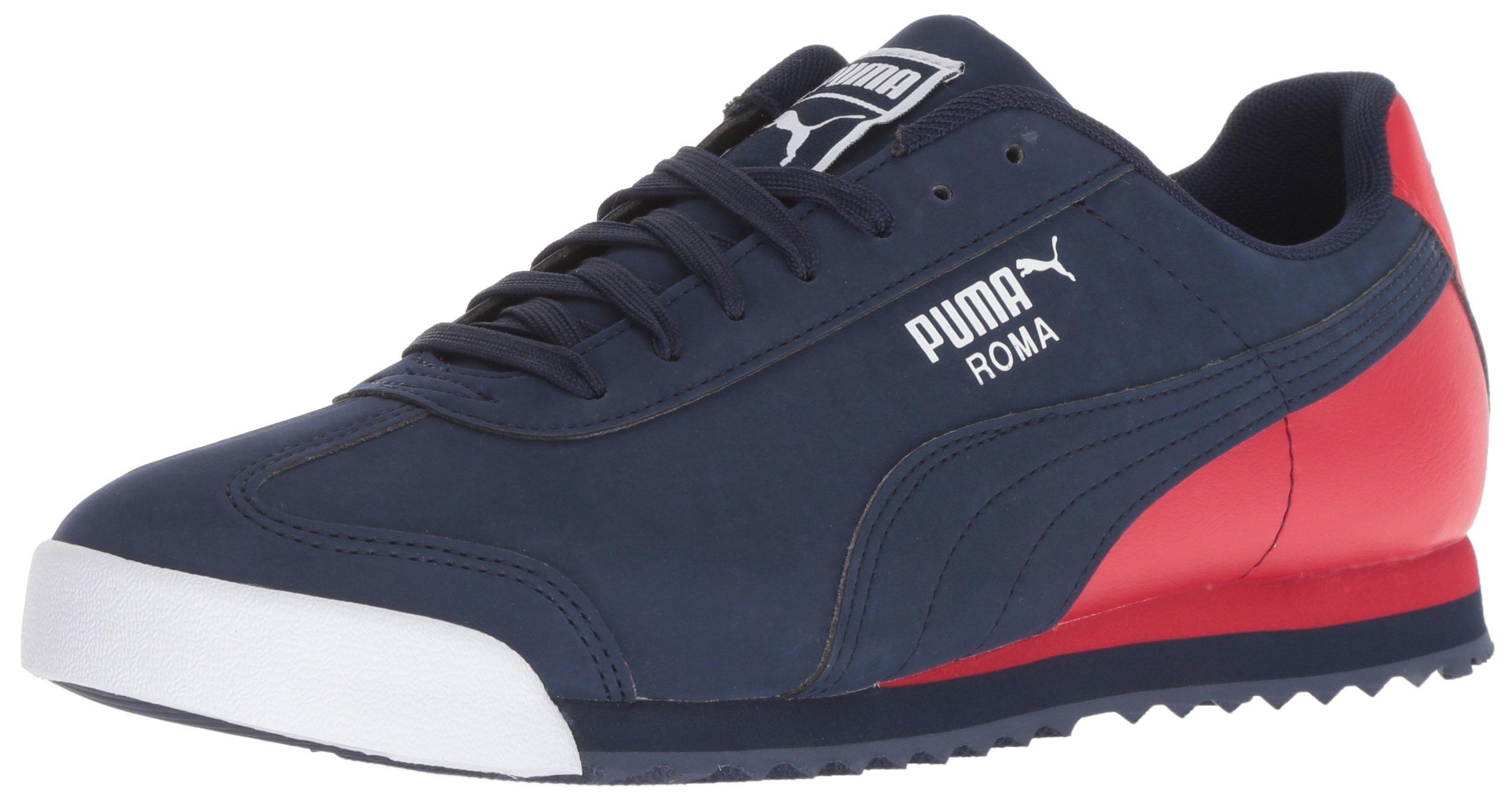 PUMA Men's Roma Basic Sneaker, Peacoat-Ribbon Red White, 9.5 M US