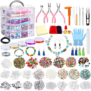 8 Pieces Jewelry Making Kit Repair Tools Accessories Starter Findings and Beading Wire Pack