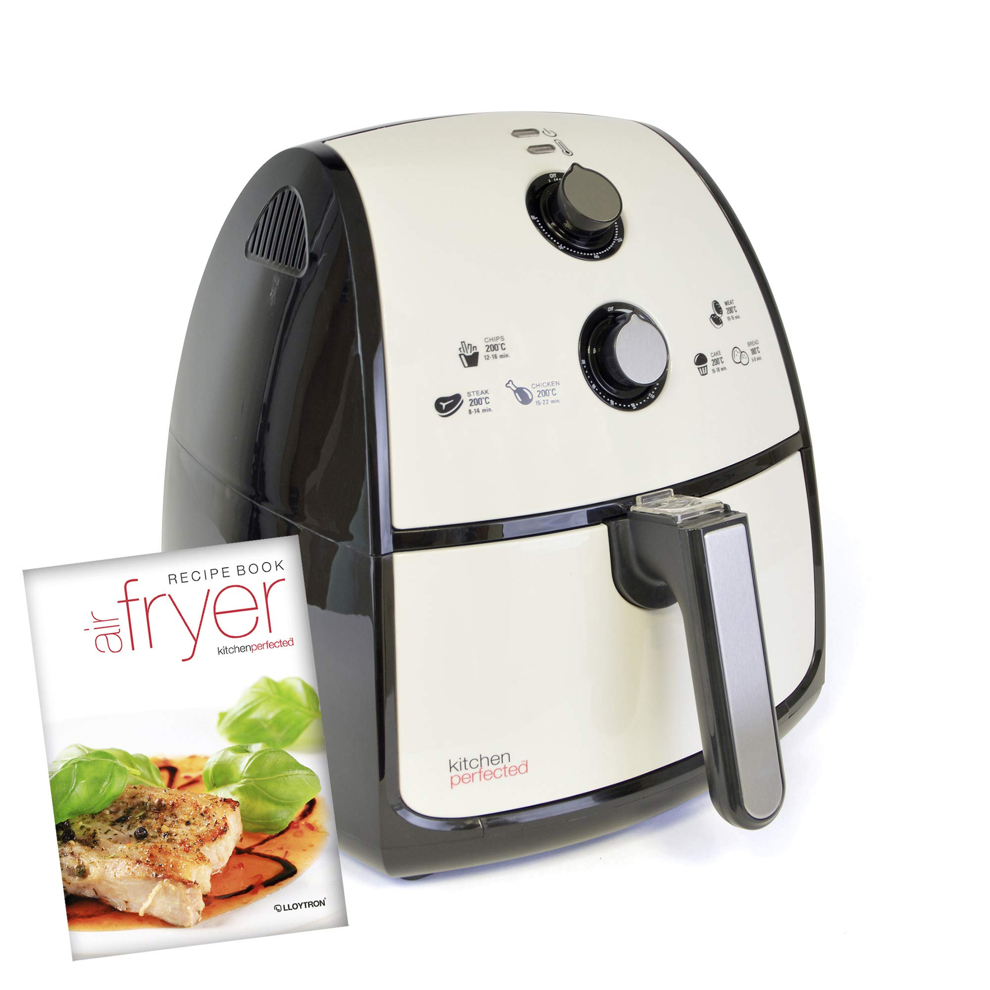Kitchen Perfected 4L XL Family Sized AIROFRYER – Portable Fryer / Grill / Oven / Steamer Uses 80% Less Oil. 1500w Extra Large Power Air Fryer in Ivory White.