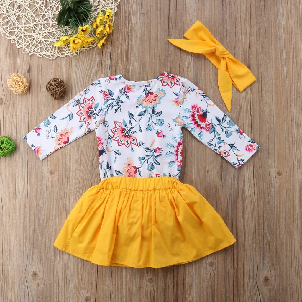 3PCS Set Cute Newborn Baby Girl Long Sleeve Floral Romper Tops+Tutu Bloomers Skirt Headband Outfits Clothing Set