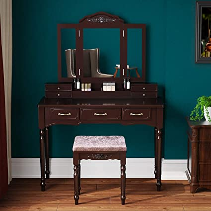 brand new 921a5 9163c Amazon.com: HOMECHO Vanity Dressing Table Set with 7 Drawers ...