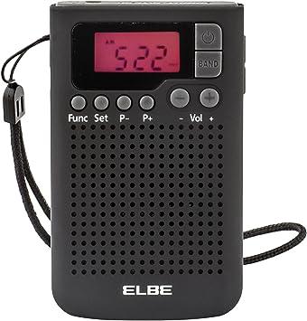 ELBE RF-93 Radio de bolsillo digital, radio am/fm, memoria 20 emisoras, despertador alarma, altavoz incorporado, función sleep / snooze, pantalla lcd, ...
