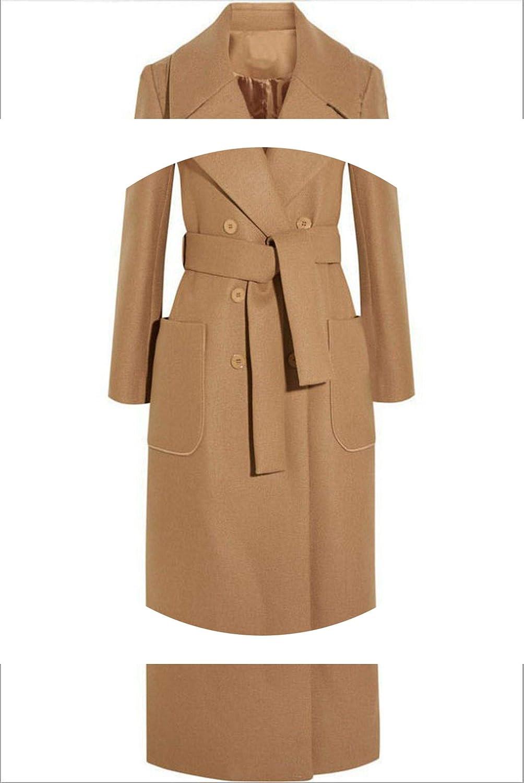 2018 New Winter Long Woolen Coat on Double ed Coats Turndown Neck Belt Slim Overcoats