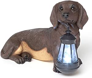 Bits and Pieces - Dachshund Solar Lantern - Solar Powered Garden Lantern - Resin Dog Sculpture with LED Light - Outdoor Lighting and Décor