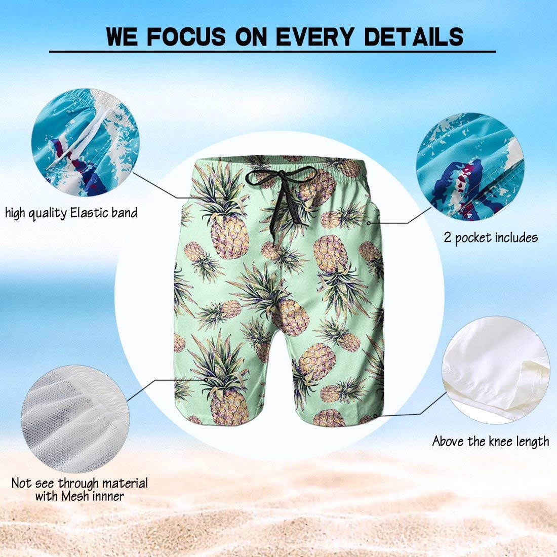 Colored Feather Tattoo Mens Beach Pants Summer Casual Swim Trunks with Pockets