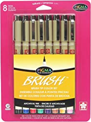 Sakura 38062 8-Piece Pigma Assorted Colors Brush Pen Set