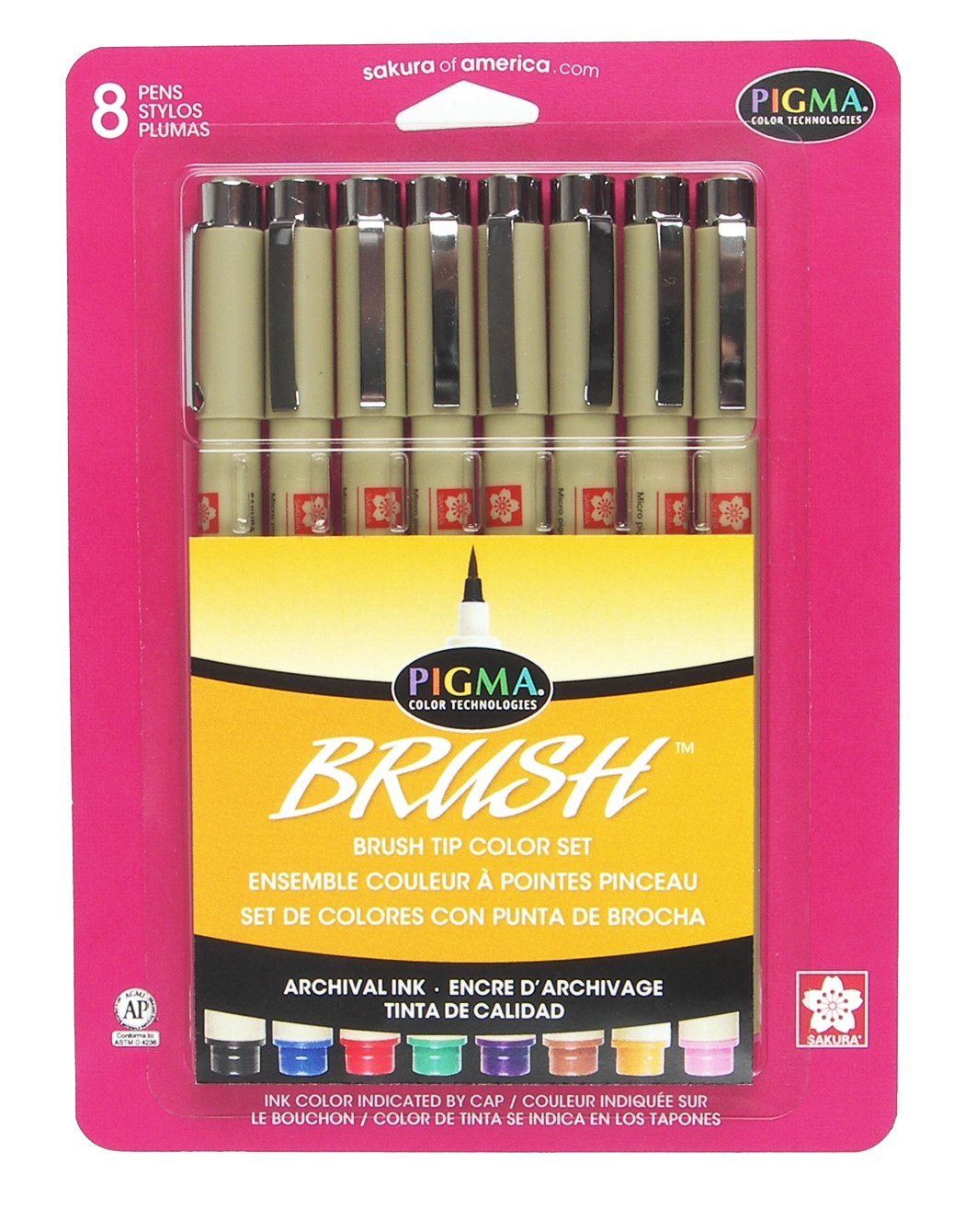 Sakura 38062 8-Piece Pigma Assorted Colors Brush Pen Set by SAKURA