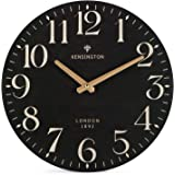 NIKKY HOME Farmhouse Wall Clock Silent Non Ticking - 12 Inch Quartz Battery Operated Vintage Wooden Round Black Clock Home De