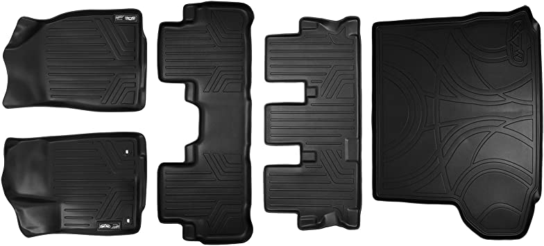SMARTLINER Floor Mats 2 Rows and Cargo Liner Behind 2nd Row Set Grey for 2014-2019 Toyota Highlander with 2nd Row Bench Seat