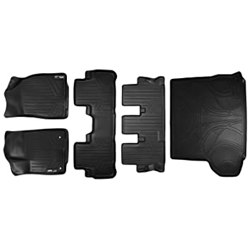 MAXLINER Floor Mats and Cargo Liner Behind 2nd Row Set Black for 2014-2018 Highlander with 2nd Row Bucket Seats No Hybrid Models