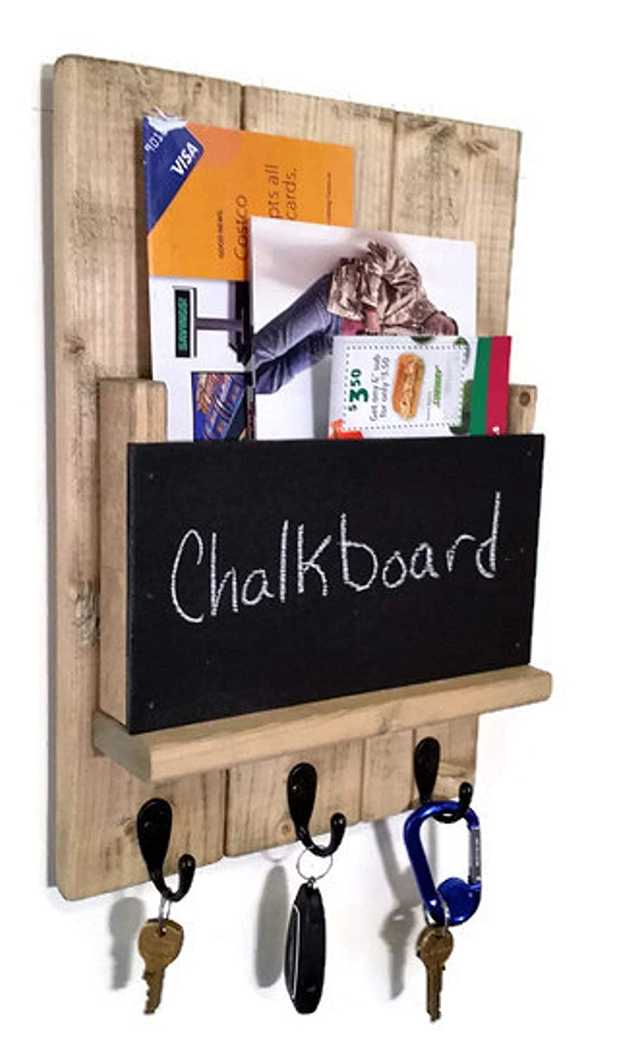 Sydney Chalkboard Front Mail Holder Organizer and Key Holder, Available with up to 3 key hooks and available in 20 different colors: Shown in Driftwood - Rustic Entryway Hooks