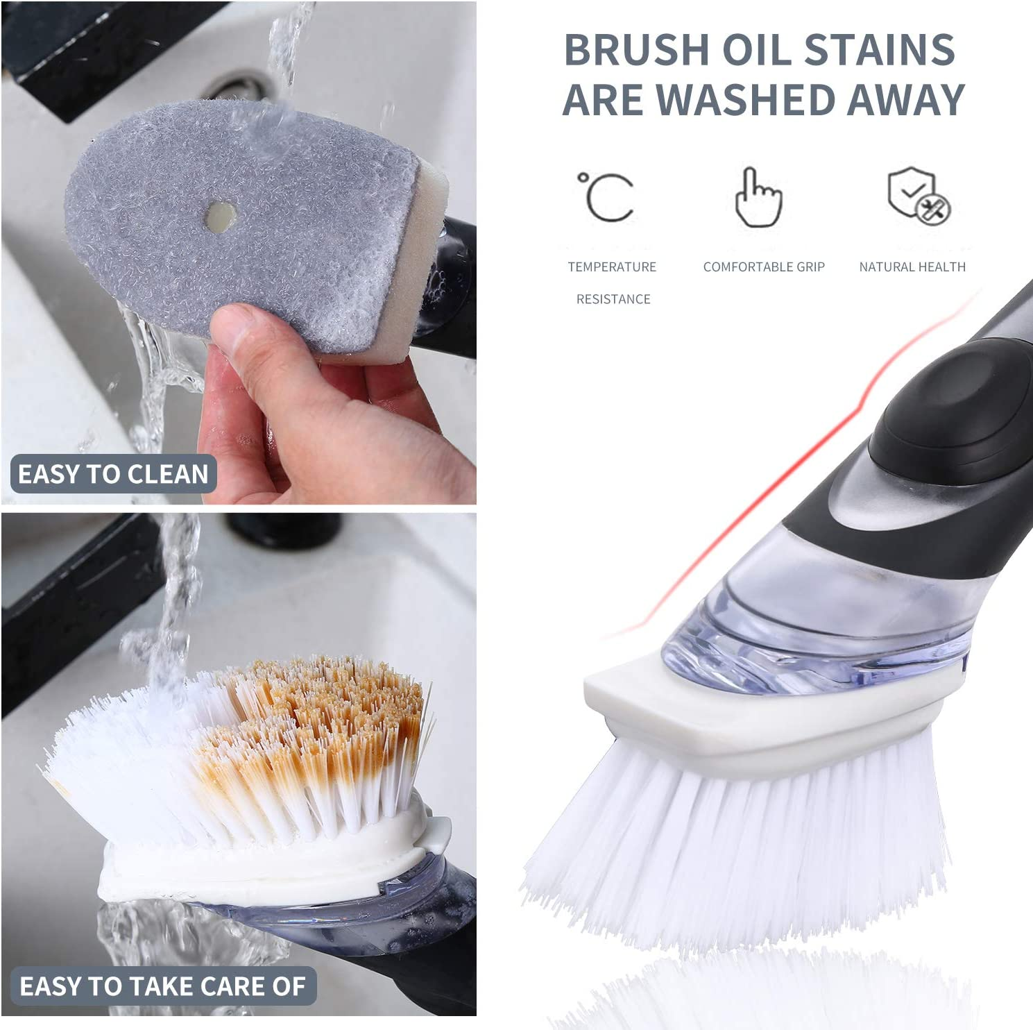 Kitchen SOAP DISPENSING DISH WASHER Washing Up Cleaning Scrubbing Brush NEW lskn
