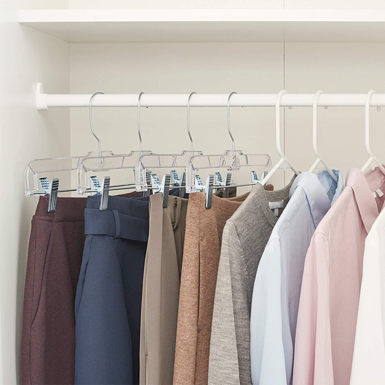 Clip Hangers for Pants HOUSE DAY Black Plastic Pant Hangers with Clips Bulk Plastic Hangers 12 Pcs Pack 14 inch Skirt Hangers