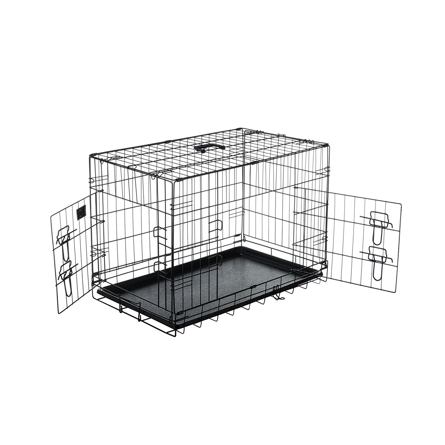 30 Inch Crate 2191 Pet Trex 30 Inch Folding Pet Crate, 2 Door Animal Kennel, 30  Dogs, Rabbits