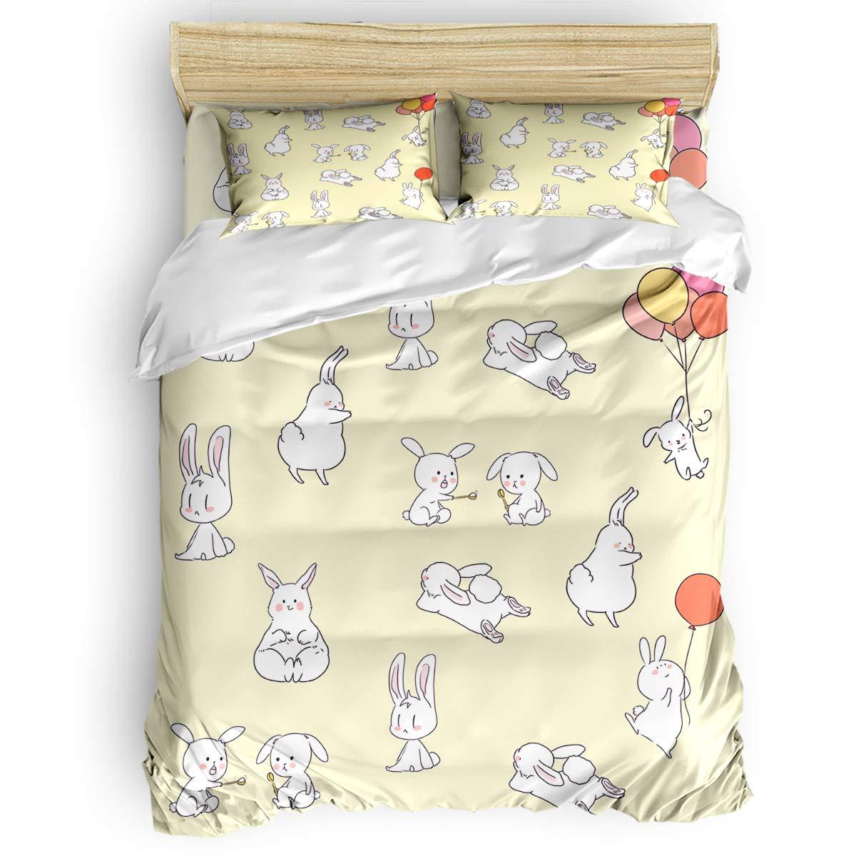 寝具4点セット 女の子 男の子 子供 大人用 白うさぎ ハッピープレイ 羽毛布団カバーセット ウルトラソフト お手入れ簡単 シーツキルトセット 装飾枕カバー付き キング B07NXQ3J8H Cartoon Rabbitplr2617 キング