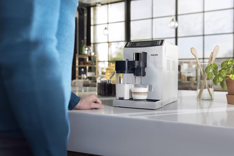Independiente, M/áquina Espresso, 1,8 L, Granos de caf/é, Molinillo Integrado, 1.8 litros, Pl/ástico, Blanco Philips EP3362//00 3100 Series EP3362//00-Cafetera