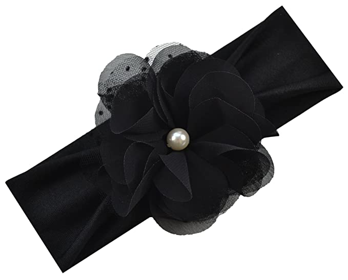 Amazon.com  Pearl Chiffon Baby Headband (Black Band   Black Flower ... c11c10bc791