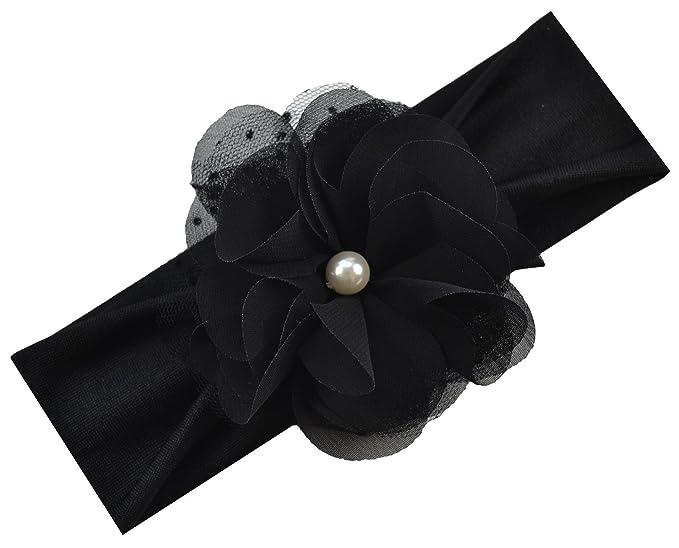 b64c376ae3f8 Amazon.com  Pearl Chiffon Baby Headband (Black Band   Black Flower ...