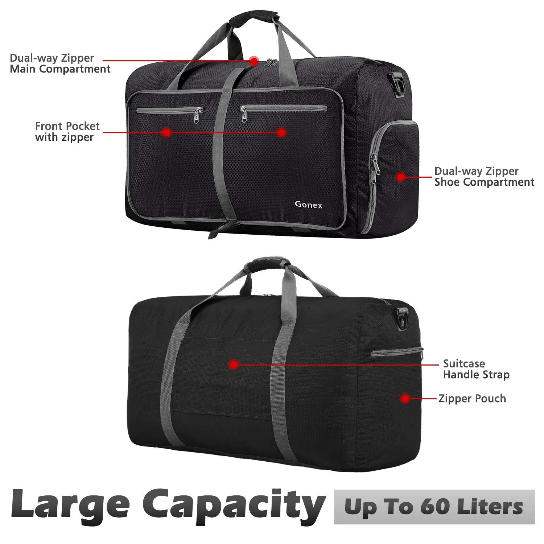 Amazon.com  Gonex 60L Foldable Travel Duffel Bag Water   Tear Resistant 57e7423050bad