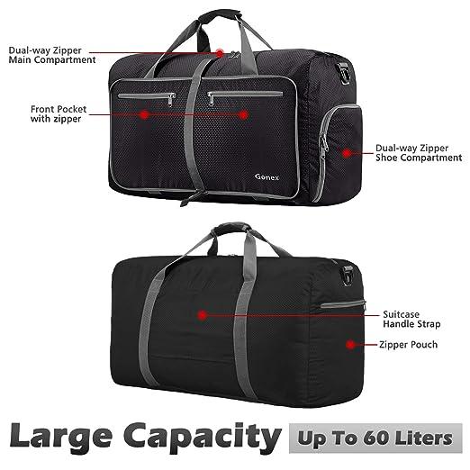 d0e5775fb3 Gonex 60L Foldable Travel Duffel Bag for Luggage