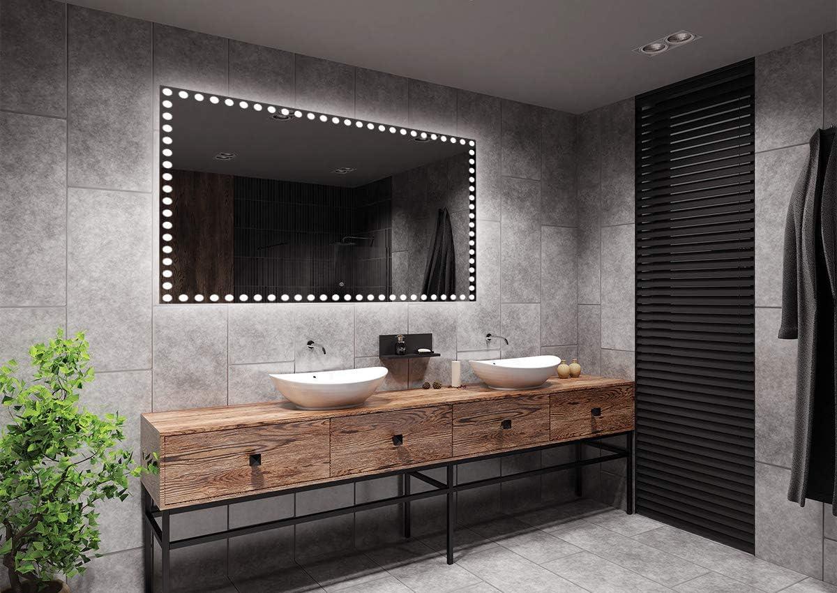Espejo LED Deluxe - Dimensiones del Espejo 130x90 cm - Interruptor tactil - Espejo de baño con iluminación LED - Espejo de Pared - Espejo con iluminación - ARTTOR M1ZD-57-130x90 - Blanco frío 6500K: Amazon.es: Hogar