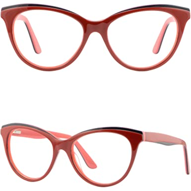 5238820553 Image Unavailable. Image not available for. Color  Large Cateye Womens  Plastic Frame Spring Hinges Acetate Prescription Glasses Red