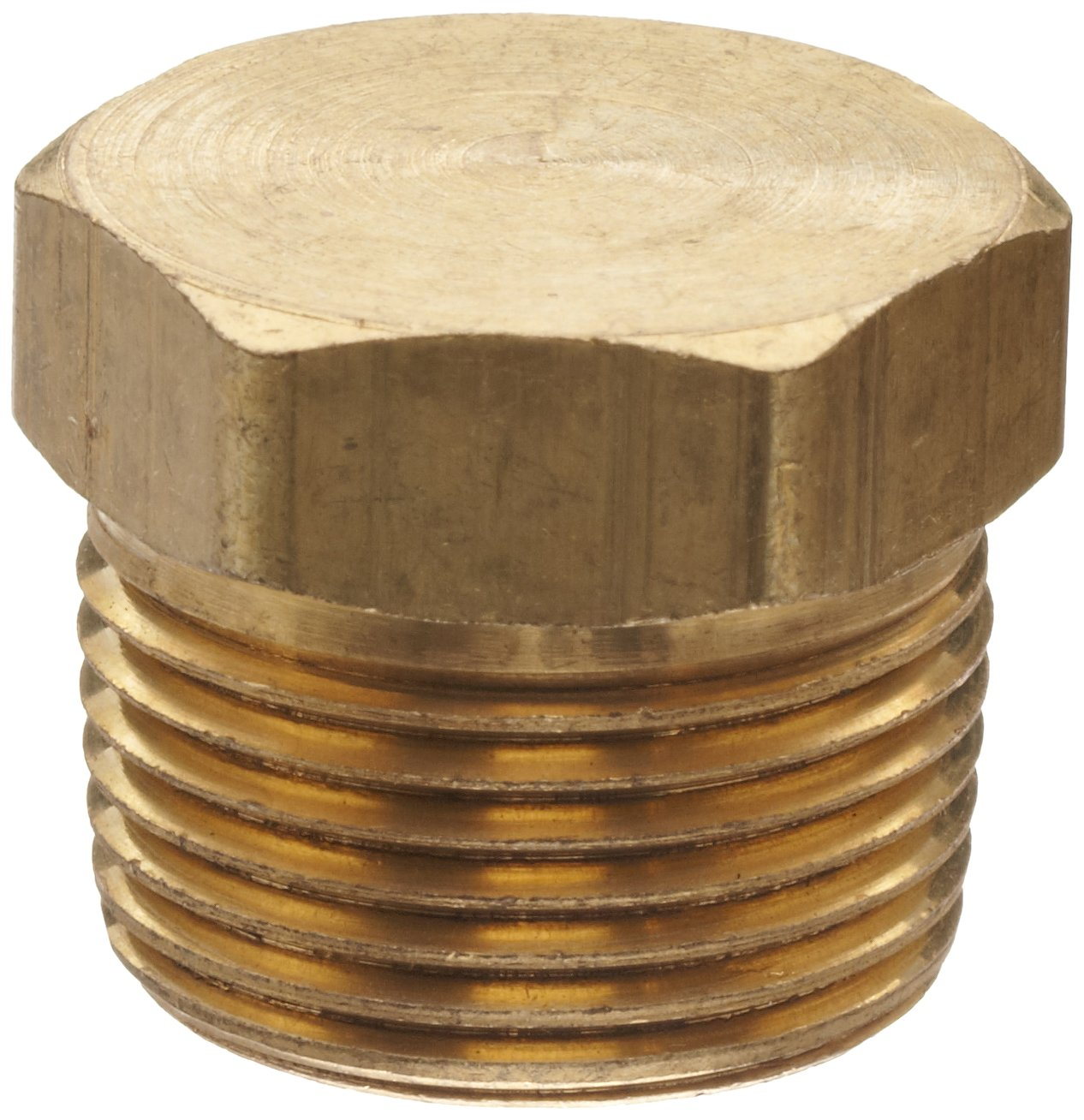 """Anderson Metals - 06121-12 Brass Pipe Fitting, Cored Hex Head Plug, 3/4"""" Male Pipe"""