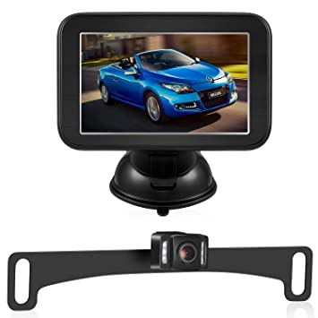 Trohestar Kit de cámara de seguridad y monitor inalámbrico, cámara de visión trasera para coche con ...