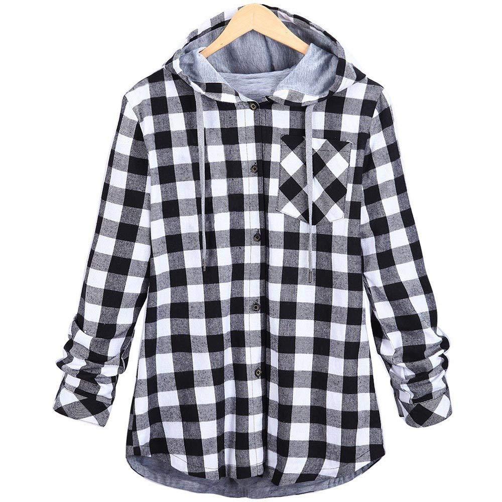 MCYs Frauen Plaid Langarm Cardigan mit Kapuze Jacket Sweatshirt Mantel Outwear Oversize mit Tasche Pullover Oberteil Jacke Herbst Winter