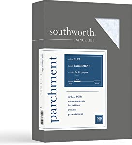 """Southworth Parchment Paper, 8.5"""" x 11"""", 24 lb/90 GSM, Blue, 500 Sheets - Packaging May Vary (964C)"""