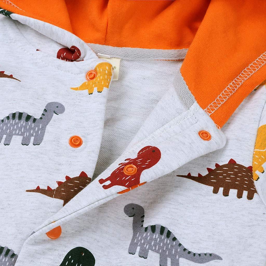 GNYD 0-2Y Pagliaccetto Abiti da Bambino Autunnali Invernale Caldo A Maniche Lunghe in Stampa Stile Dinosauro Abbigliamento