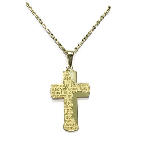 Cruz y cadena todo de oro amarillo de 18Ktes con oración del Padre Nuestro. 50cm. Especial comunión!: Amazon.es: Joyería