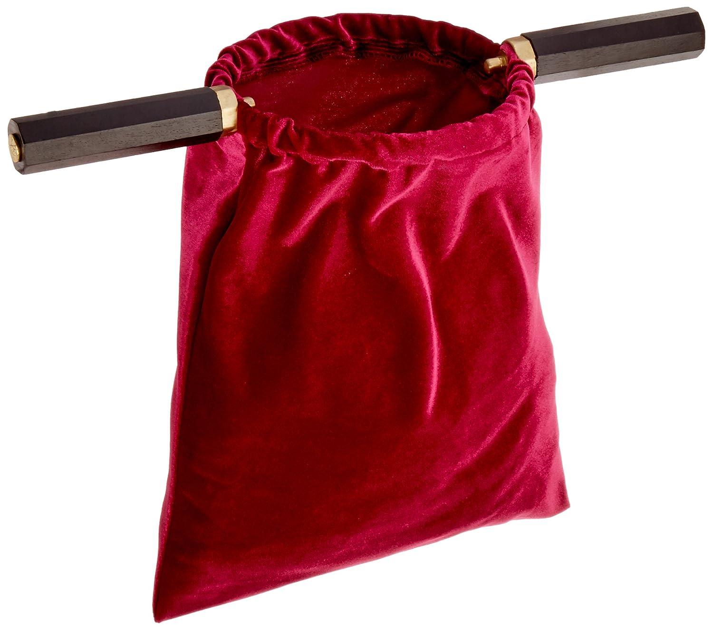 Red Velvet Wood Brass Handle Church Money Tythe Offering Bowl Passing Bag CB