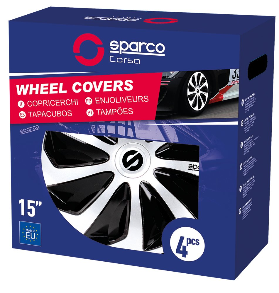 Amazon.com: Sparco SPC1373SVBL Sicilia Wheel Covers, Silver/Blue, Set of 4, 13